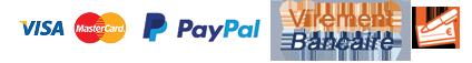 Paiement par Visa, Mastercard, PayPal, Virement bancaire ou cheques
